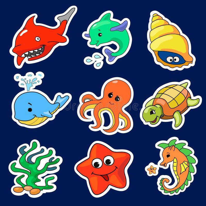 Illustration av de olika havsvarelserna stock illustrationer