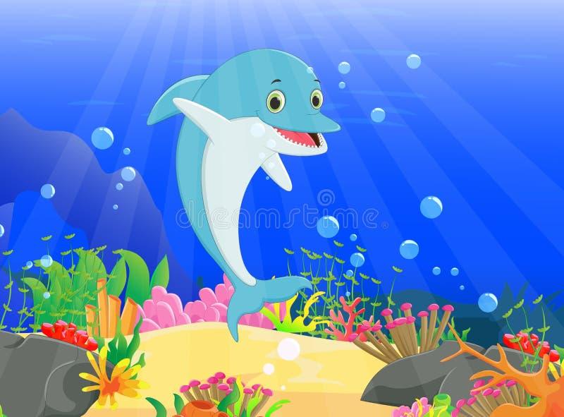 Illustration av delfin med en härlig undervattens- värld vektor illustrationer