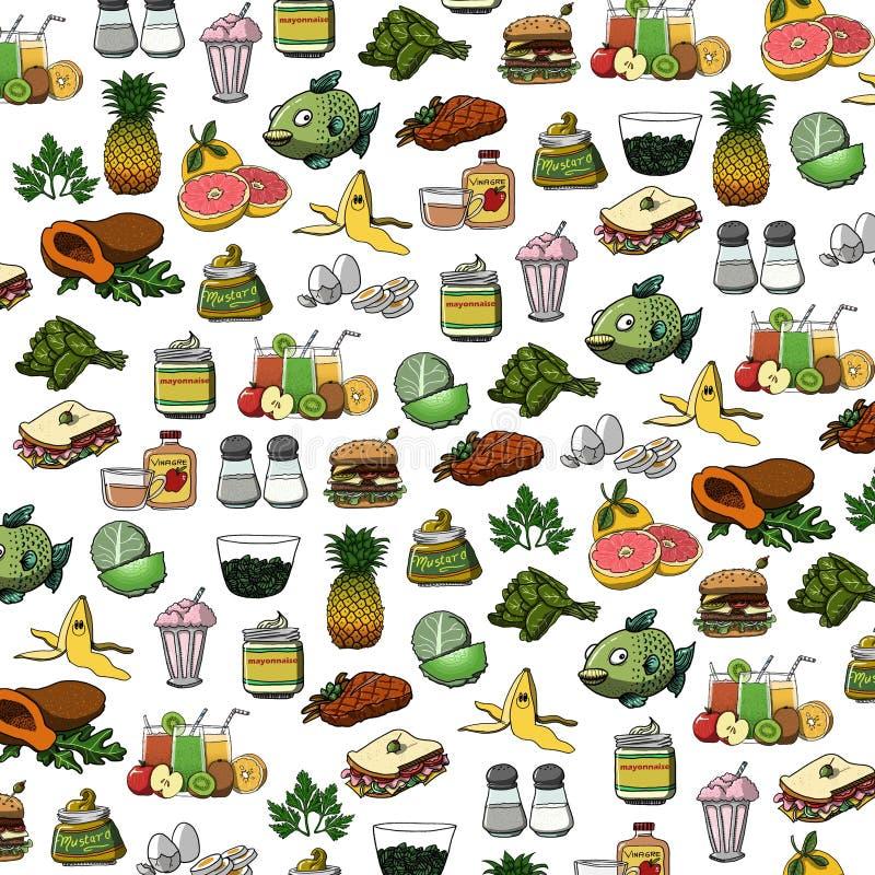 Illustration av den åtskilliga illustrationen för symboler för matrengöringsduk stock illustrationer