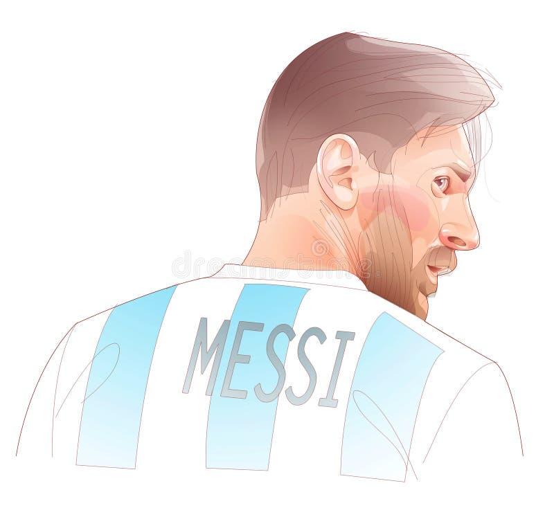 Illustration av den argentinska fotbollspelaren Lionel Messi vektor illustrationer