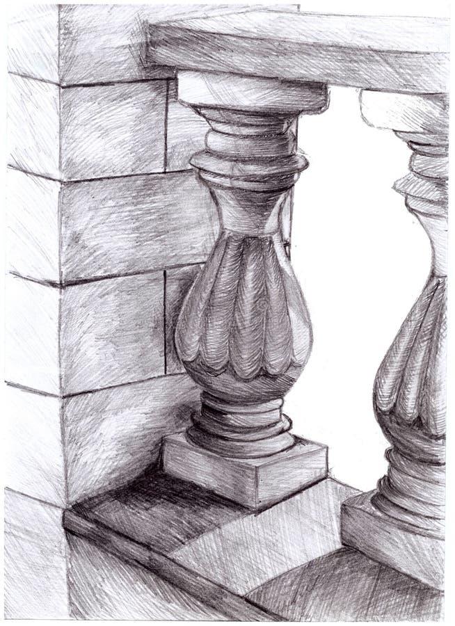 Illustration av den arkitektoniska beståndsdelkolonnen royaltyfri illustrationer