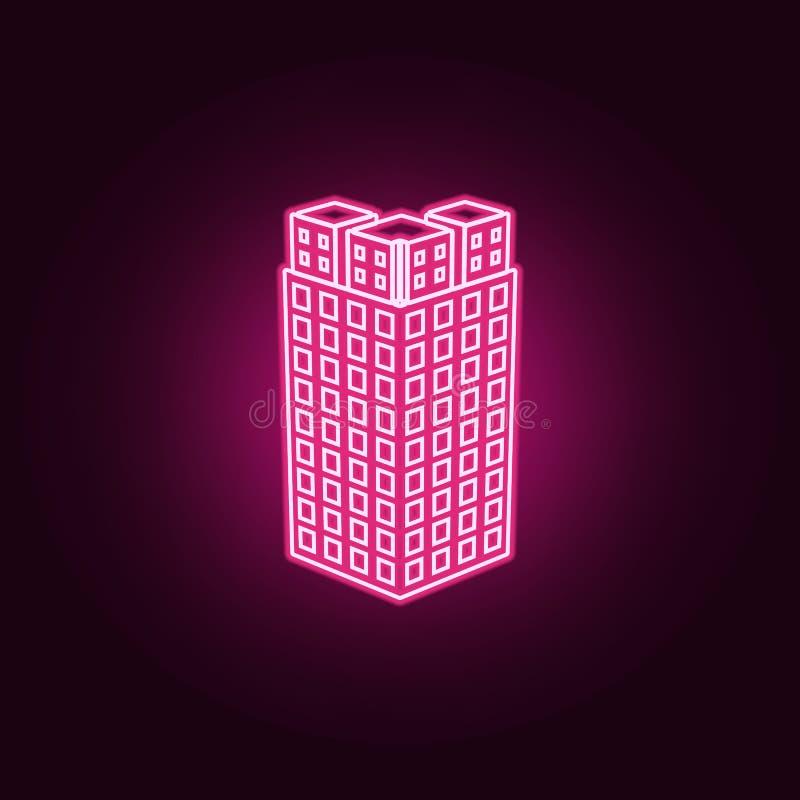 illustration av den bästa sikten av symbolen för byggnad 3d Beståndsdelar av byggnad 3d i neonstilsymboler Enkel symbol för websi royaltyfri illustrationer