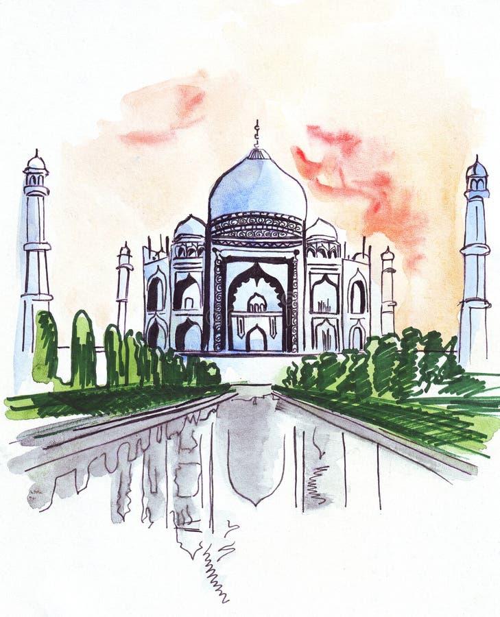 Illustration av den berömda mausoleet för värld i Indien royaltyfri illustrationer