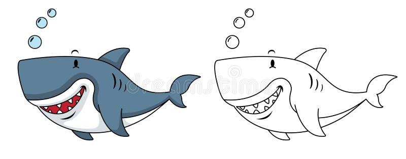Illustration av den bildande färgläggningbok-hajen vektor illustrationer