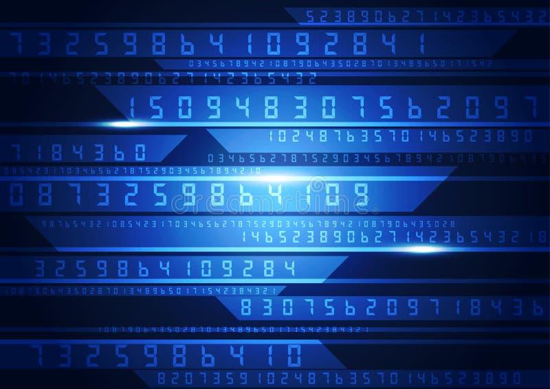 Illustration av den binära koden på abstrakt teknologibakgrund vektor illustrationer