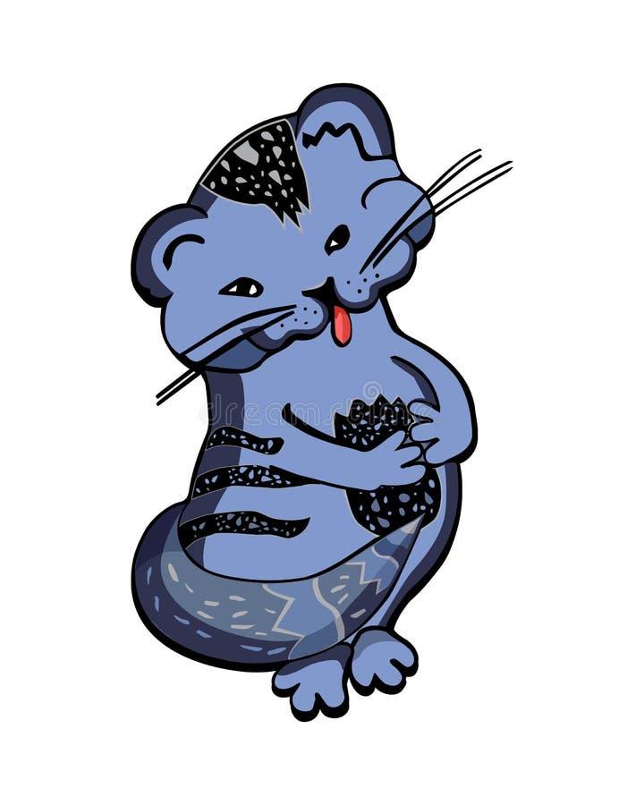 Illustration av den blåa kattungeisolaten för liten tecknad film på vit bakgrund vektor illustrationer