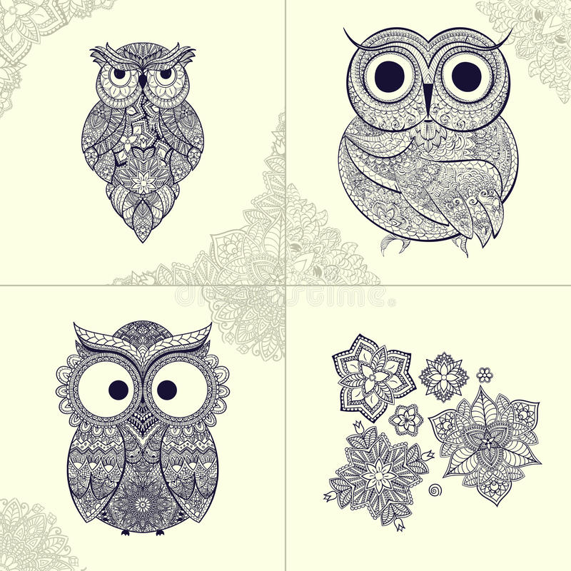 illustration av den dekorativa ugglan Fågel som illustreras i stam- Uppsättning av dekorativa ugglor med blommor och modell från  royaltyfri illustrationer
