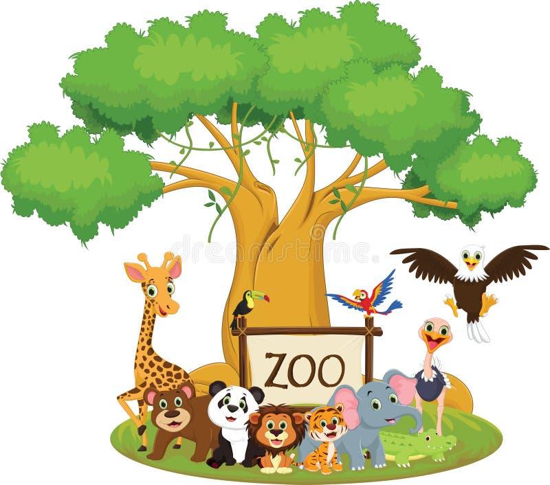 Illustration av den djura tecknade filmen för rolig zoo som isoleras på vit royaltyfri illustrationer