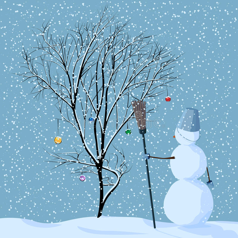 Illustration av den ensamma snowmanen nära tree. stock illustrationer