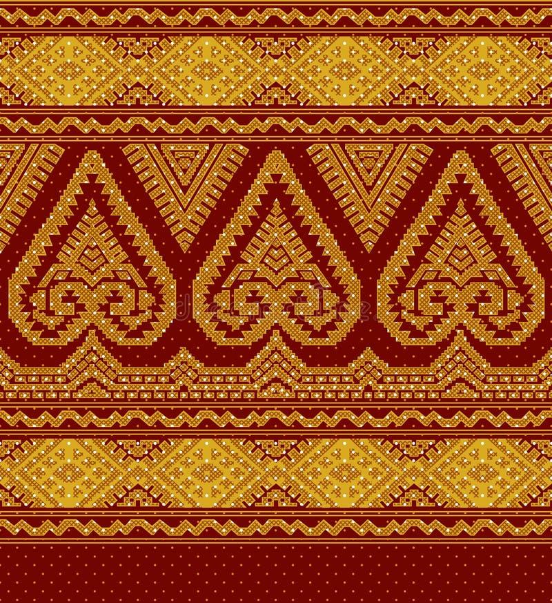 Illustration av den etniska prydnaden för textil vektor illustrationer