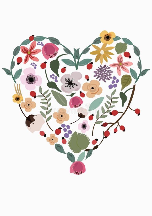 Illustration av den färgglade blom- modellen i en hjärtaform royaltyfri illustrationer