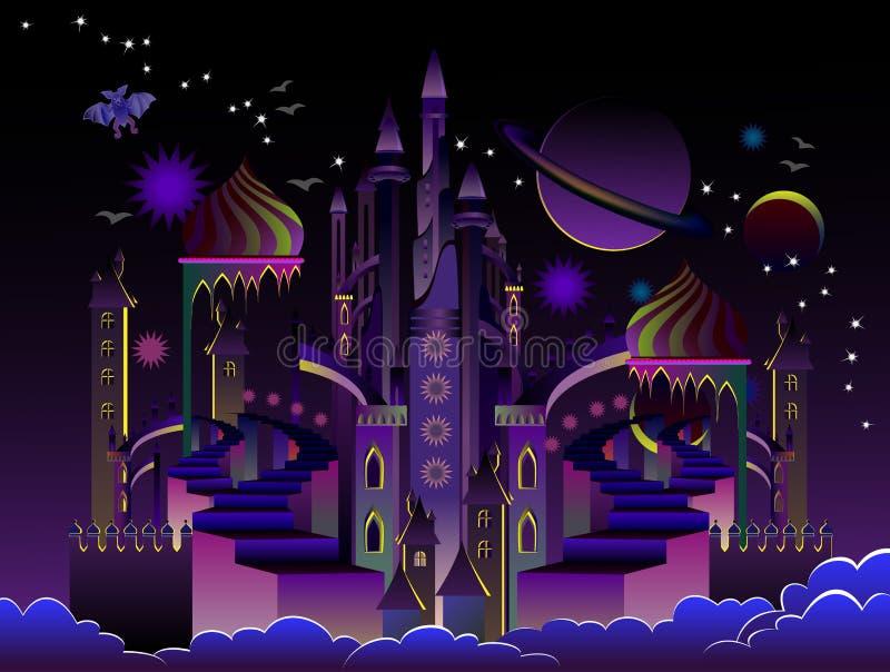 Illustration av den fantastiska futuristiska ?stra staden p? nattetid R?kning f?r ungesagabok Affisch f?r loppf?retag stock illustrationer