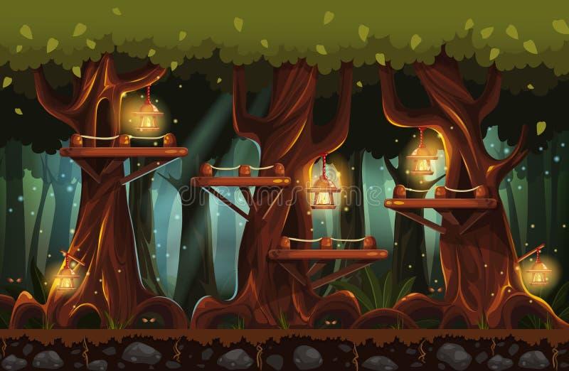 Illustration av den felika skogen på natten med ficklampor, eldflugor och träbroar vektor illustrationer