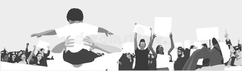 Illustration av den fridsamma folkmassaprotesten med barn och studenter som rymmer tomt tecken och baner royaltyfri illustrationer