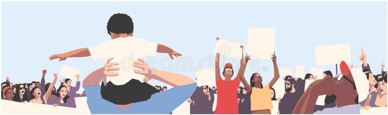 Illustration av den fridsamma folkmassaprotesten med barn och studenter som rymmer tomt tecken och baner vektor illustrationer