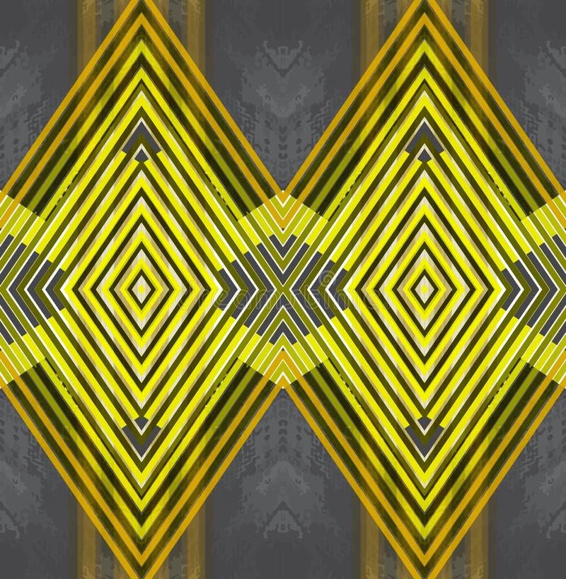 Illustration av den geometriska sömlösa modellen för design Gråna och gulna musikbandet, romben, triangel med marmor Design av stock illustrationer