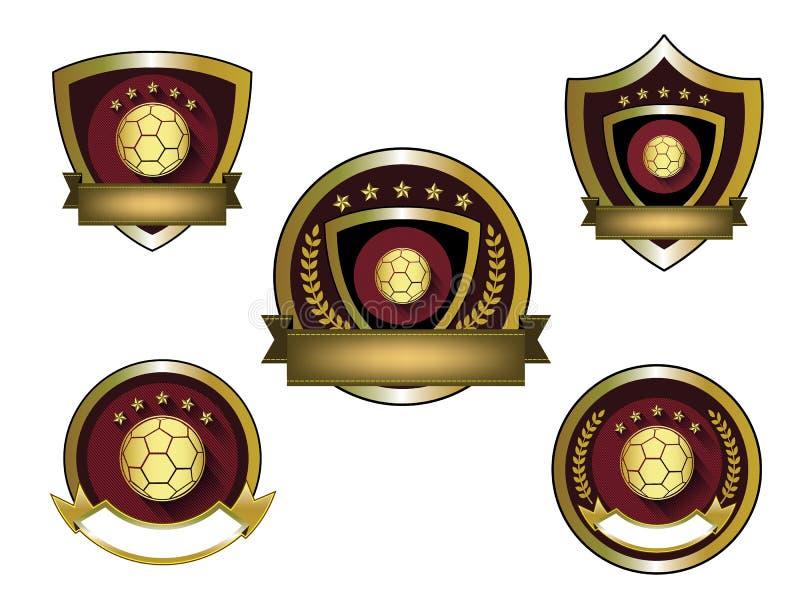 Illustration av den guld- fotbolllogouppsättningen stock illustrationer