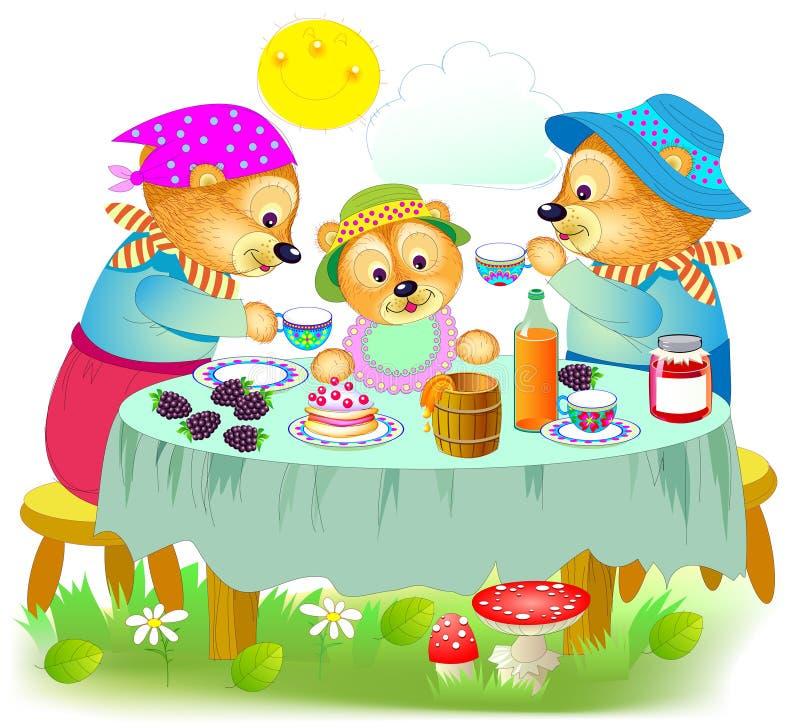 Illustration av den gulliga familjen för tre björnar som äter frukostfadern, moder och att behandla som ett barn att sitta på tab stock illustrationer