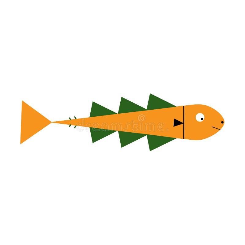 Illustration av den gulliga fisktecknade filmen gears symbolen royaltyfri illustrationer