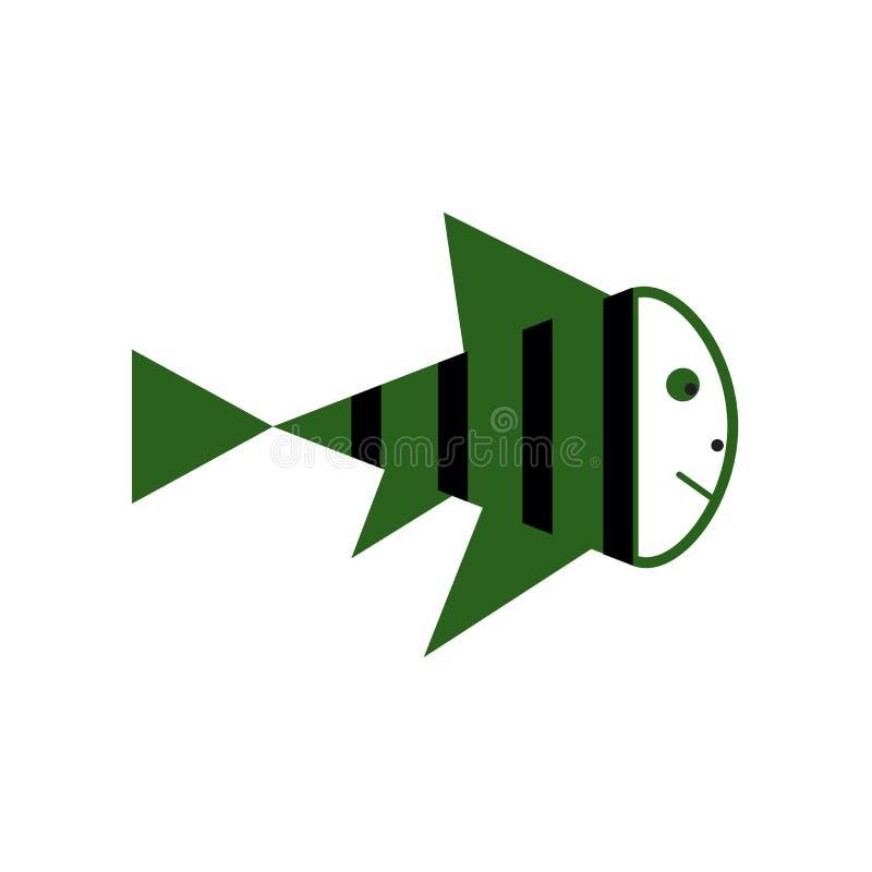 Illustration av den gulliga fisktecknade filmen gears symbolen stock illustrationer
