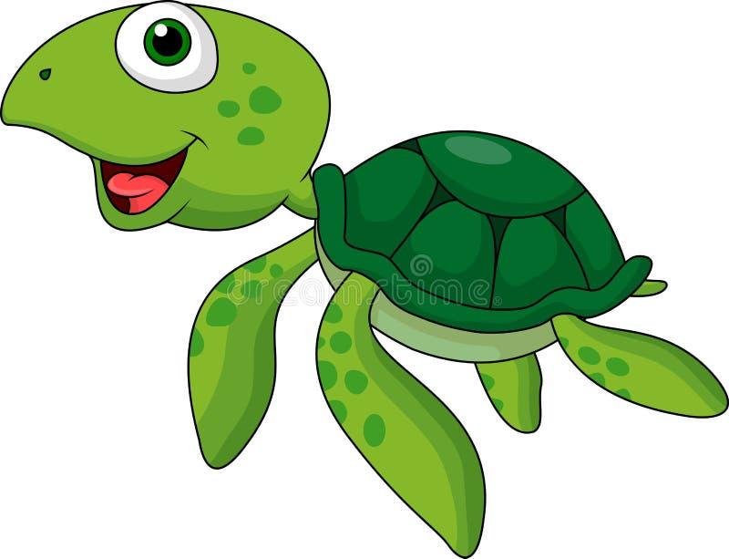 Grön sköldpaddatecknad film royaltyfri illustrationer