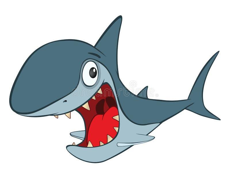 Illustration av den gulliga hajen huvudet för uppnosiga gulliga hundar för bakgrundstecknad filmteckenet isolerade det lyckliga l vektor illustrationer