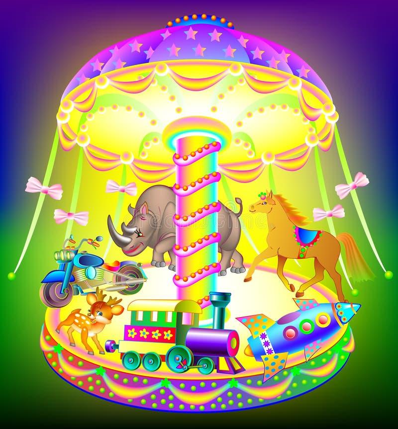Illustration av den härliga fantasikarusellen stock illustrationer