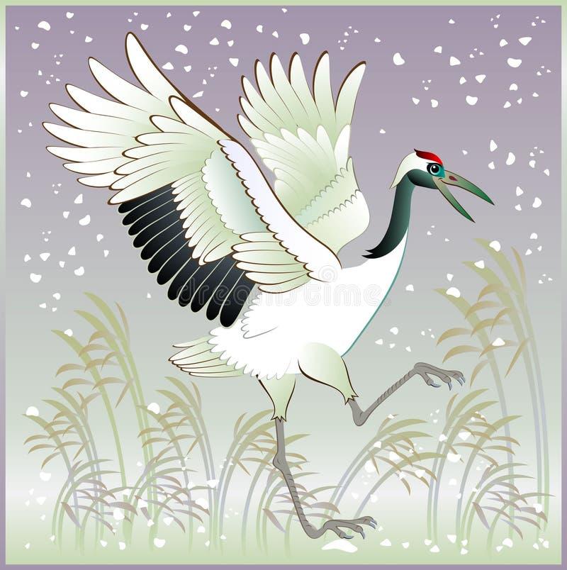 Illustration av den härliga kranen i vinter stock illustrationer