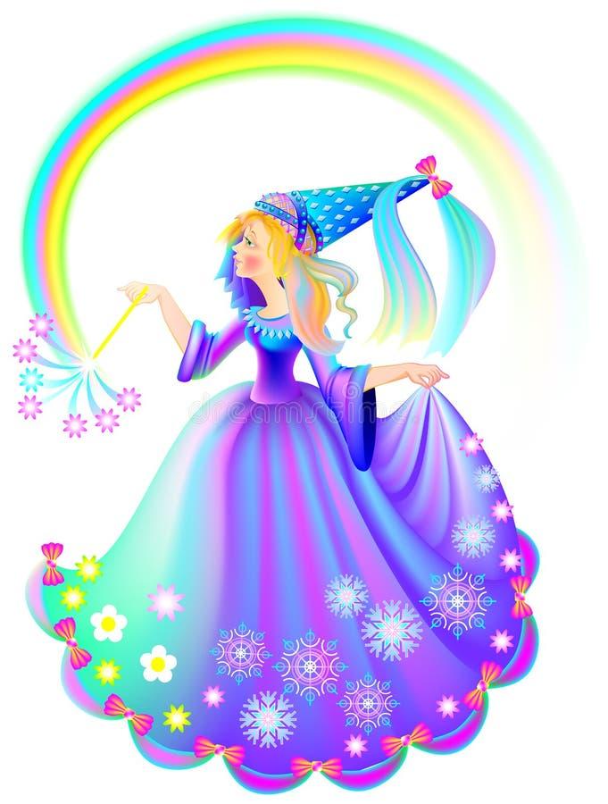 Illustration av den hållande trollspöet för härlig medeltida prinsessa vektor illustrationer