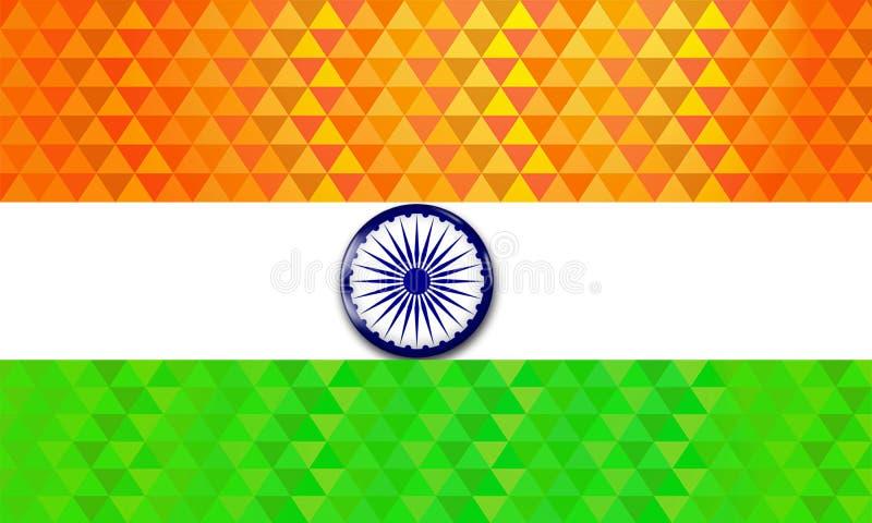 Illustration av den indiska flaggan i poly diagonal modell med skinande färg royaltyfri illustrationer