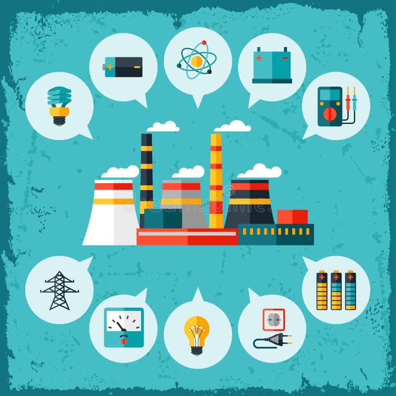 Illustration av den industriella kraftverket i lägenhet vektor illustrationer