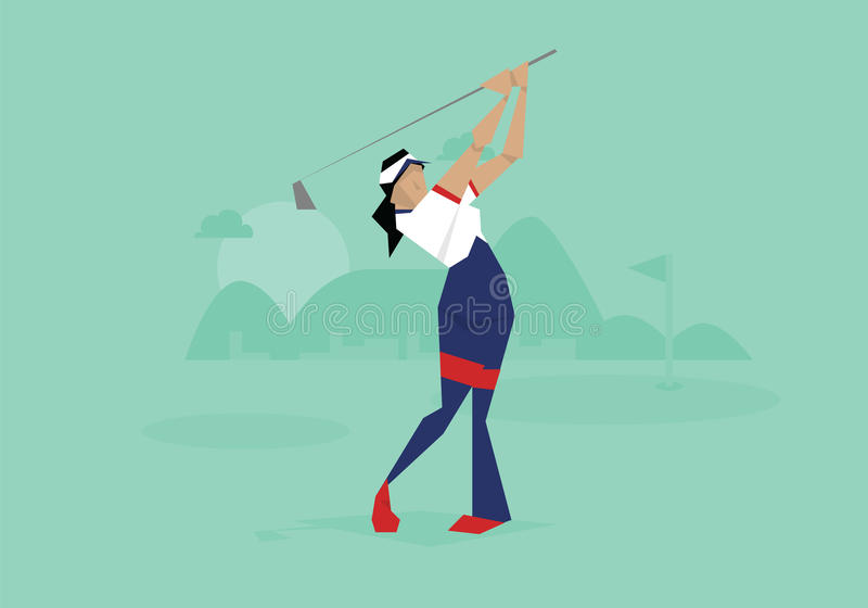 Illustration av den kvinnliga golfaren som konkurrerar i händelse royaltyfri illustrationer