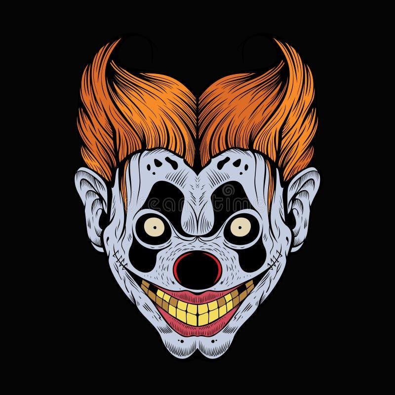 Illustration av den läskiga röda clownen royaltyfri illustrationer
