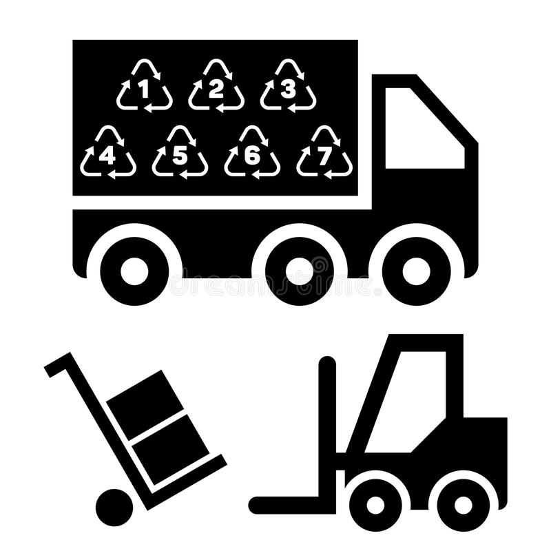 Illustration av den logistiska leveransen och trans. med lastbil- och lastplattformar vektor illustrationer
