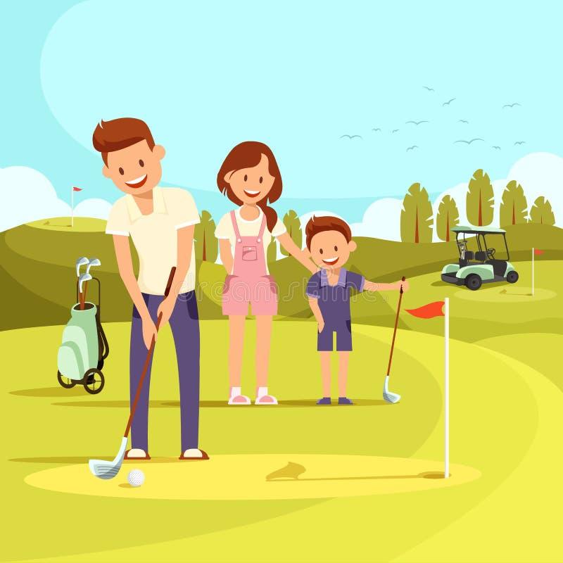 Illustration av den lyckliga familjen på golfbanan som spelar golf vektor illustrationer