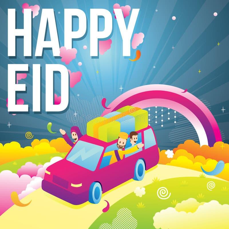 Illustration av den lyckliga islamiska familjen i bilen som firar och tycker om eidmubarak beröm stock illustrationer