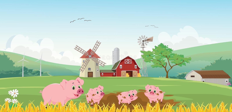 Illustration av den lyckliga svinfamiljen i lantgården stock illustrationer