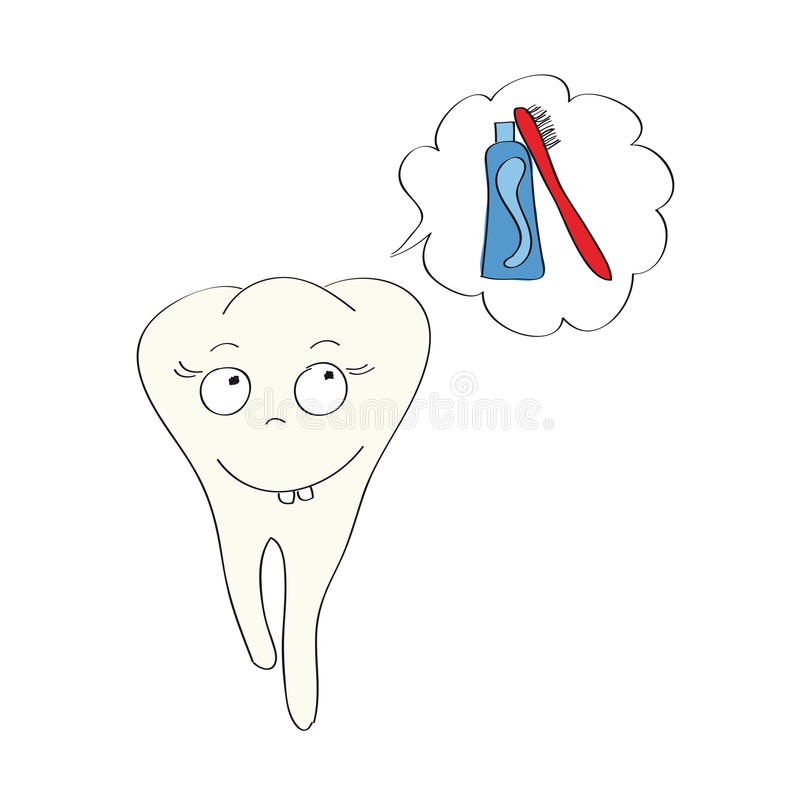 Illustration av den lyckliga tanden som drömmer av tandkräm och borste royaltyfri illustrationer
