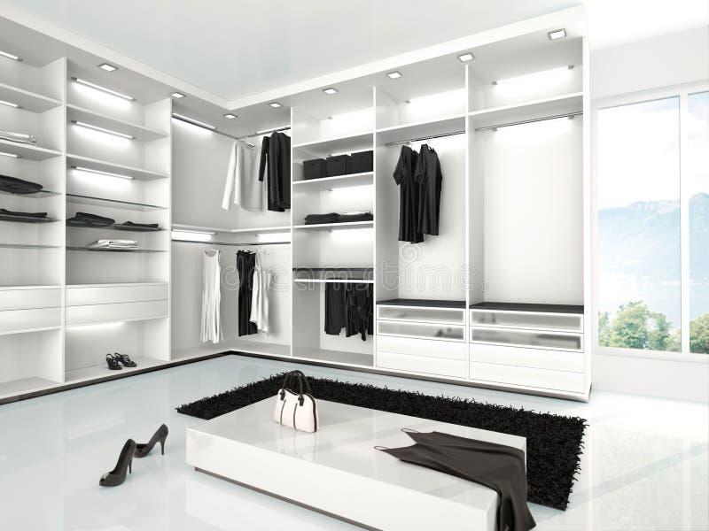 illustration av den lyxiga vita garderoben i en modern stil stock illustrationer