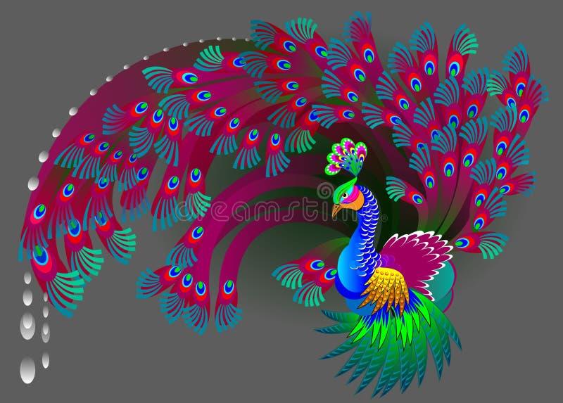 Illustration av den magiska påfågeln royaltyfri illustrationer