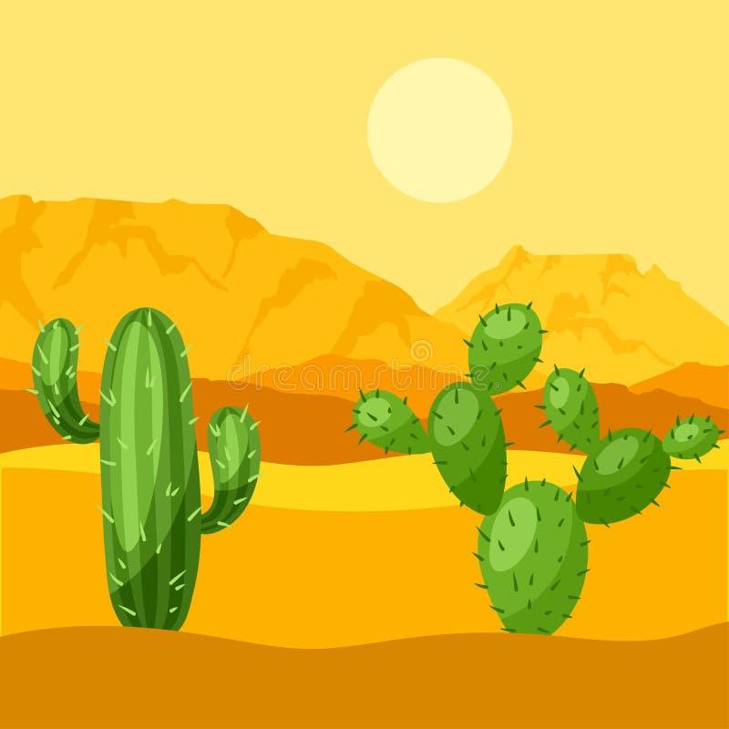 Illustration av den mexikanska öknen med kakturs och stock illustrationer