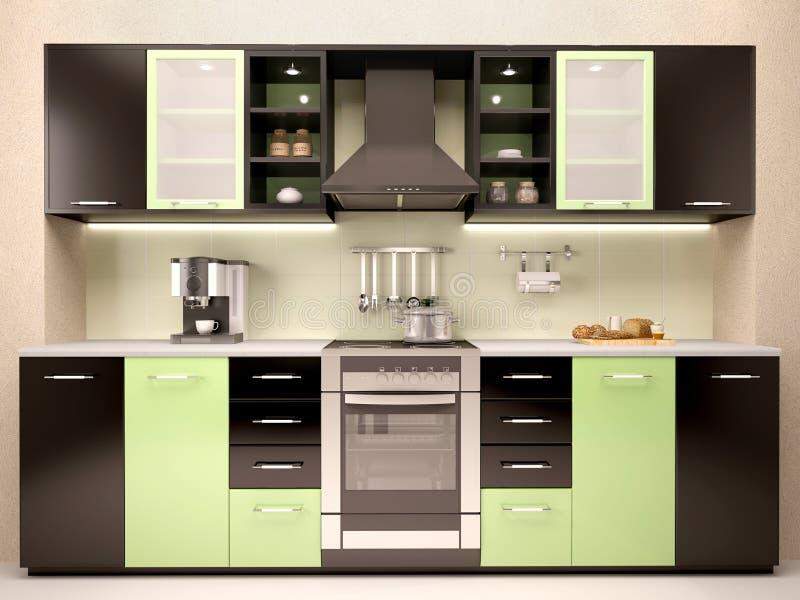 Illustration av den moderna kökinre vektor illustrationer