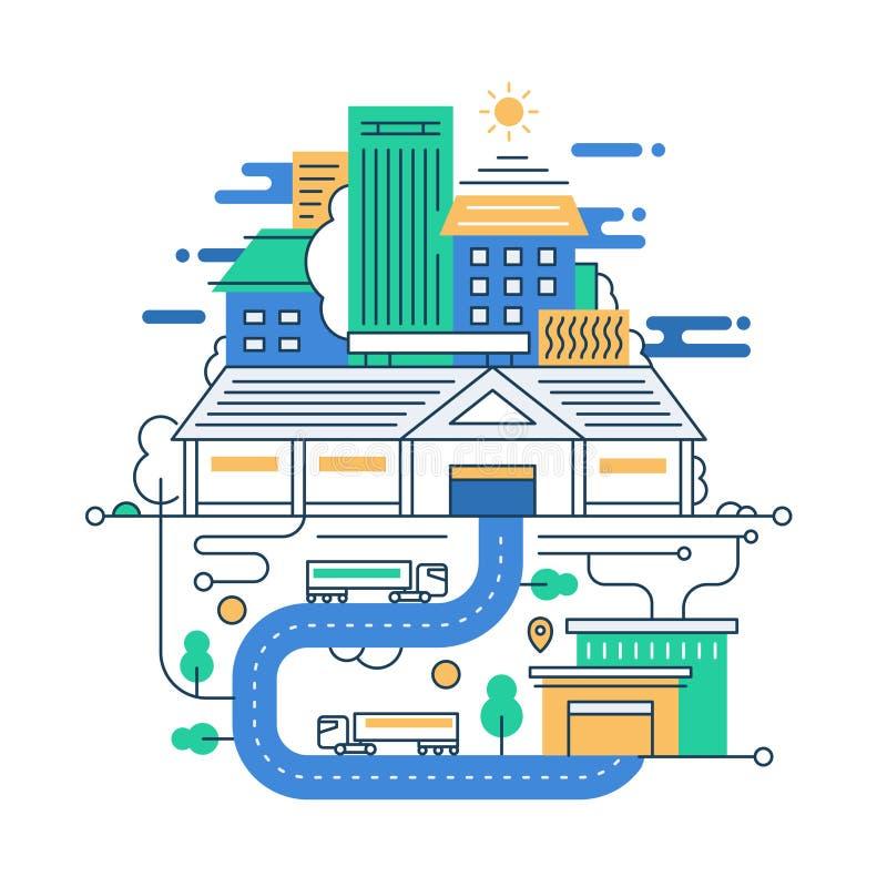 Illustration av den moderna linjen lägenhetdesignstad vektor illustrationer