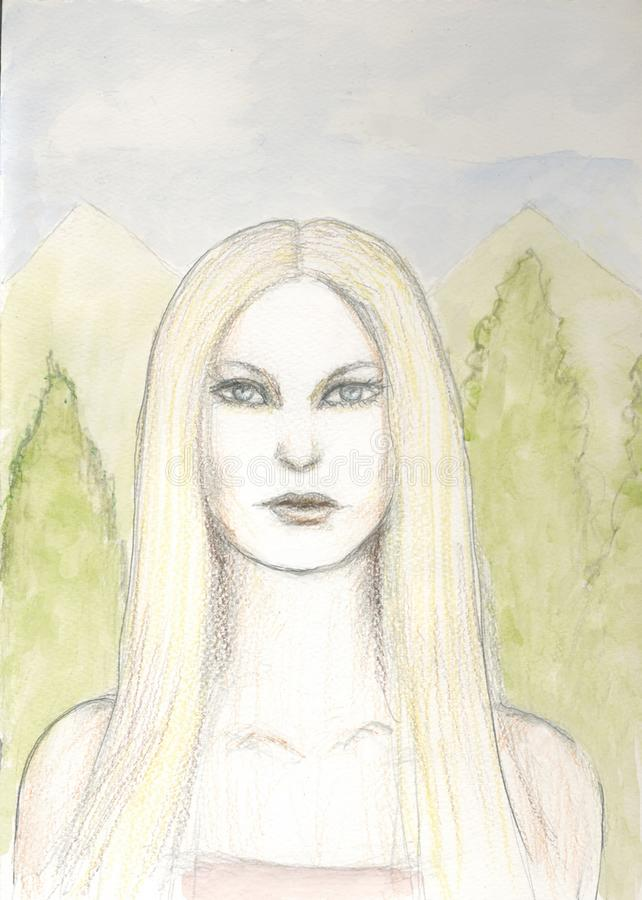 Illustration av den nätta blonda kvinnan vektor illustrationer