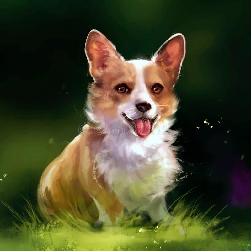 Illustration av den röda hunden på gräset royaltyfri illustrationer