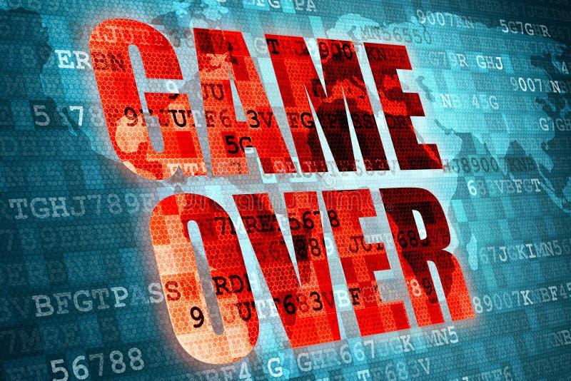 Illustration av den röda leken för PIXEL över skärmen på blå digital världskartabakgrund stock illustrationer