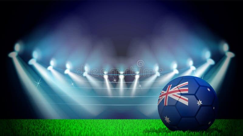 illustration av den realistiska fotbollbollen som målas i nationsflaggan av Australiya på tänd stadion Vektorn kan användas in vektor illustrationer