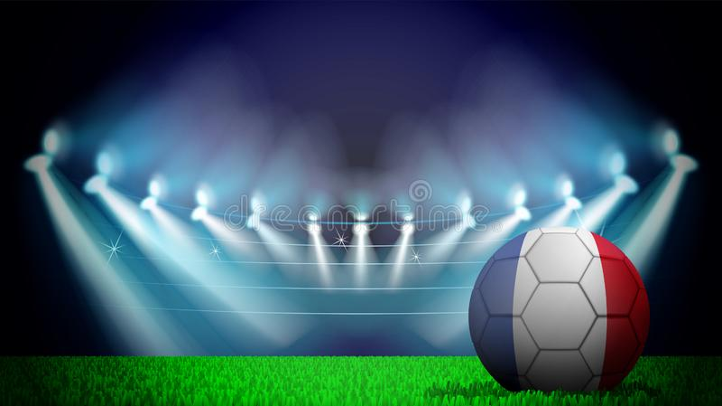 illustration av den realistiska fotbollbollen som målas i nationsflaggan av Frankrike på tänd stadion Vektorn kan användas, i ann royaltyfri illustrationer