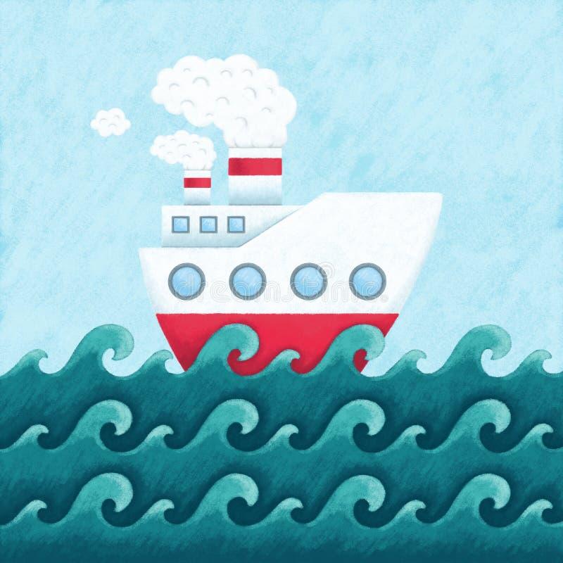 Illustration av den roliga skeppseglingen i havet stock illustrationer