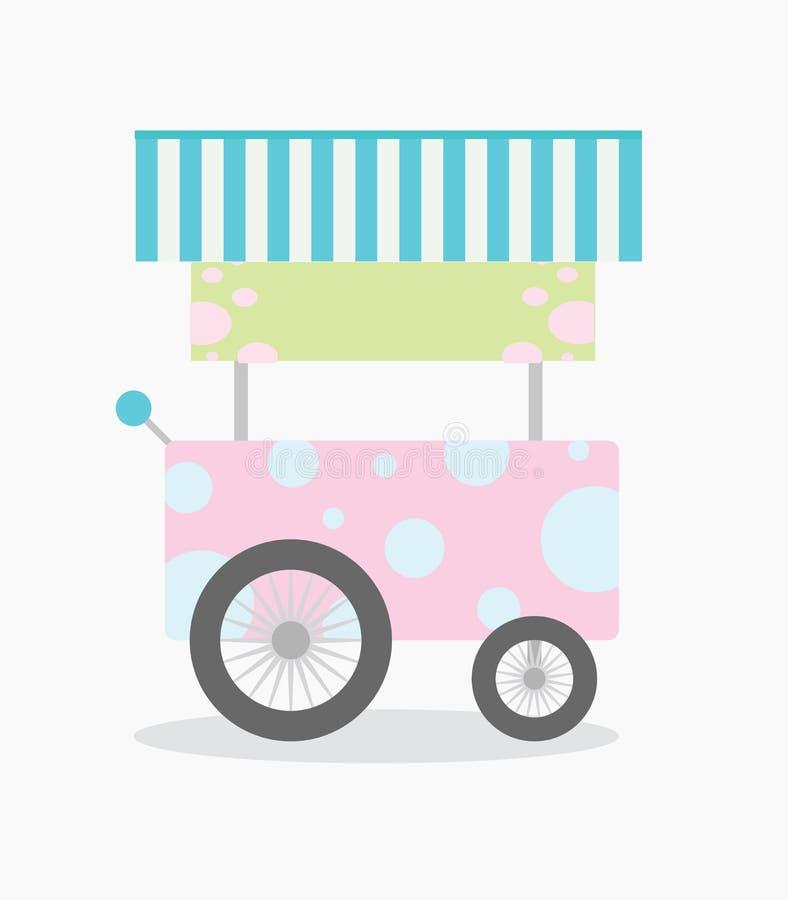 Illustration av den rosa säljande vagnen som isoleras i vit bakgrund stock illustrationer